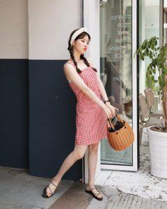 Váy gingham đáng yêu