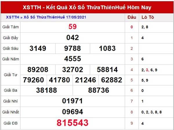 Phân tích xổ số Thừa Thiên Huế thứ 2 ngày 24/5/2021